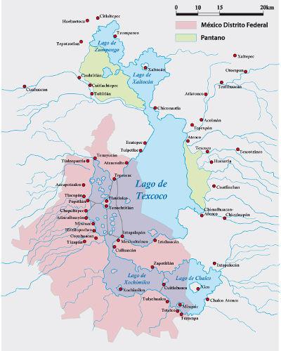Mapa que mostra a composição do lago Texcoco durante o século XVI e, em vermelho, a localização da atual Cidade do México.