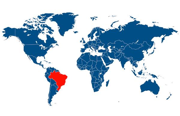 O Brasil localiza-se no continente americano, especificamente no subcontinente América do Sul.