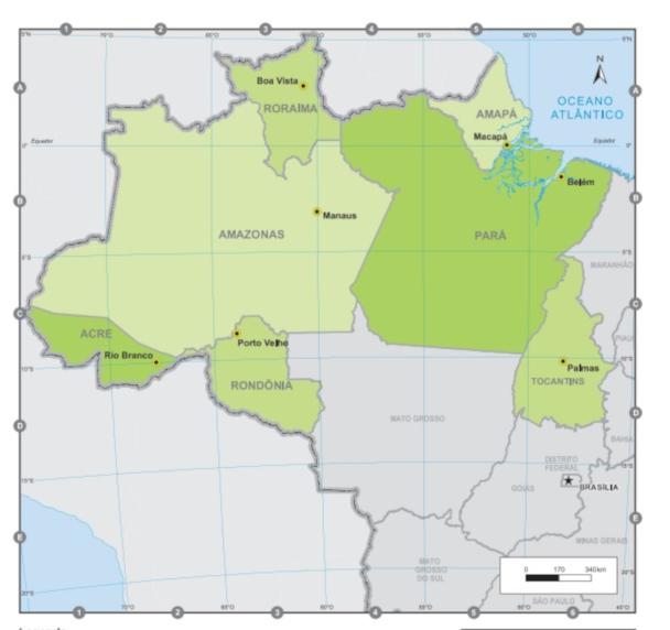 A região Norte do Brasil é composta por sete estados e é, territorialmente, a maior região do país. (Fonte: IBGE)