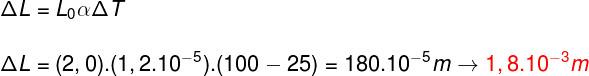 Cálculo da dilatação linear