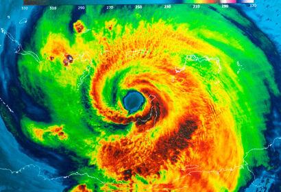 Imagem térmica de um furacão