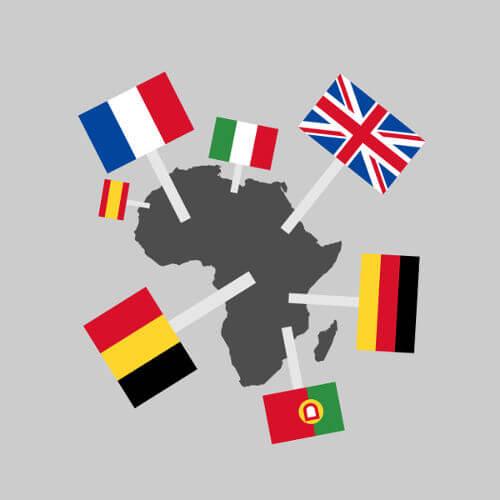 Mapa que informa as nações europeias que possuíram colônias no continente africano.