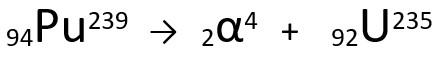 Equação representativa da emissão de partícula α pelo Plutônio-239.