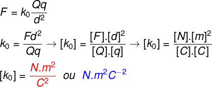 Portanto, de acordo com a análise dimensional feita, a unidade de medida da constante k0 é o N.m2.C-2.