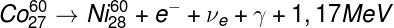 Exemplo de decaimento gama juntamente à emissão de um elétron e um neutrino eletrônico.