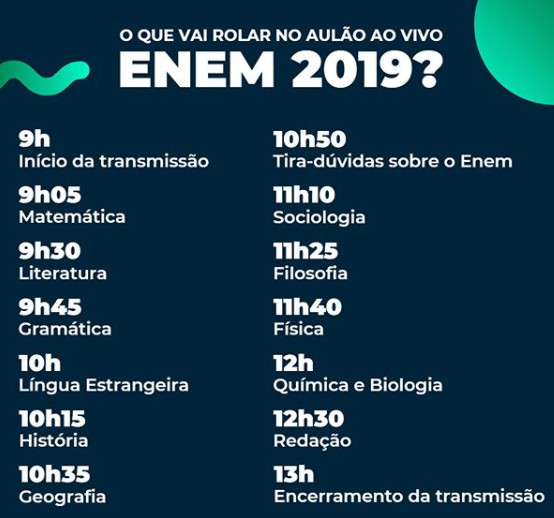 Programação Aulão Enem Brasil Escola