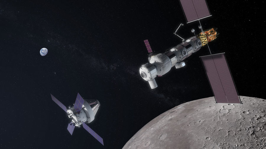 A coleta de recursos será realizada pela espaçonave Orion, que trará os recursos da Gateway para a superfície da Lua.