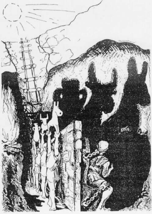Os prisioneiros tinham acesso somente às sombras projetadas na parede da caverna.