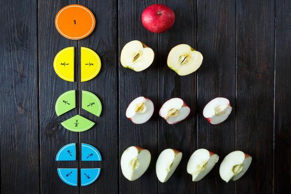 Exemplificando frações com maçãs.