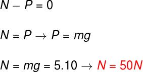 Na figura, o resultado mostra que a força normal é igual a 50 newtons.