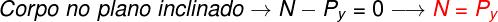 No plano inclinado, a normal corresponde a uma fração do peso do objeto.