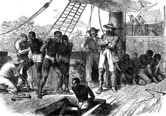 Retrato do convés de um navio destinado ao tráfico de escravos africanos.