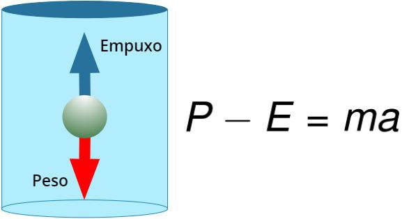 Na figura, a diferença entre o peso e o empuxo fornecem a força resultante.