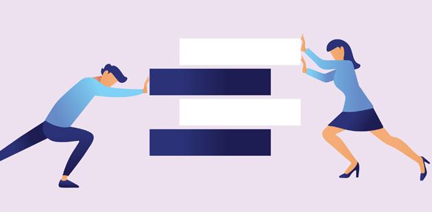 Desenho de homem e mulher empurrando sinais de igual