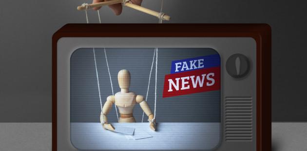 marionete em TV como âncora de jornal